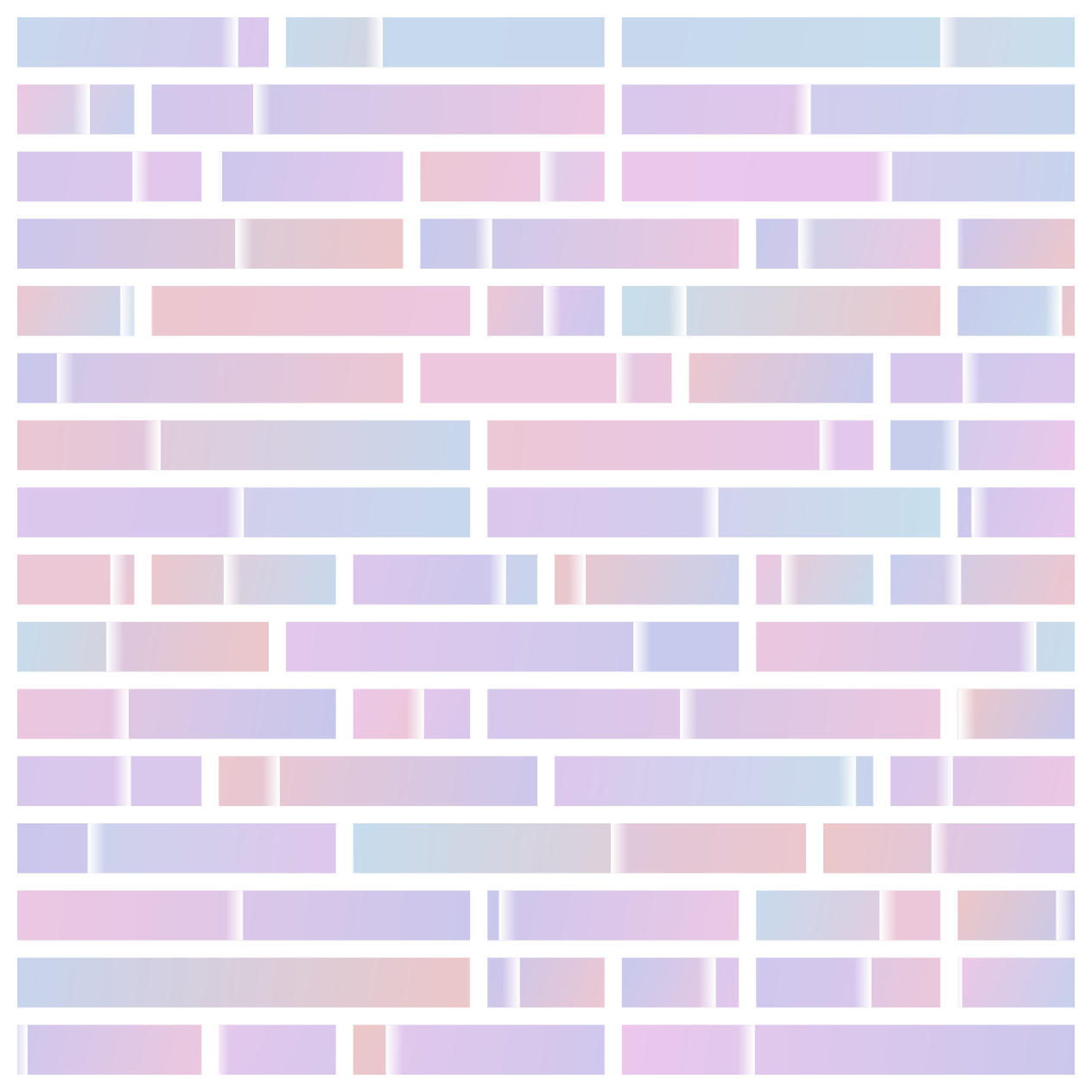in search of: rectanugular search paths, in a grid, with gradients in pink, blue, and purple gradients