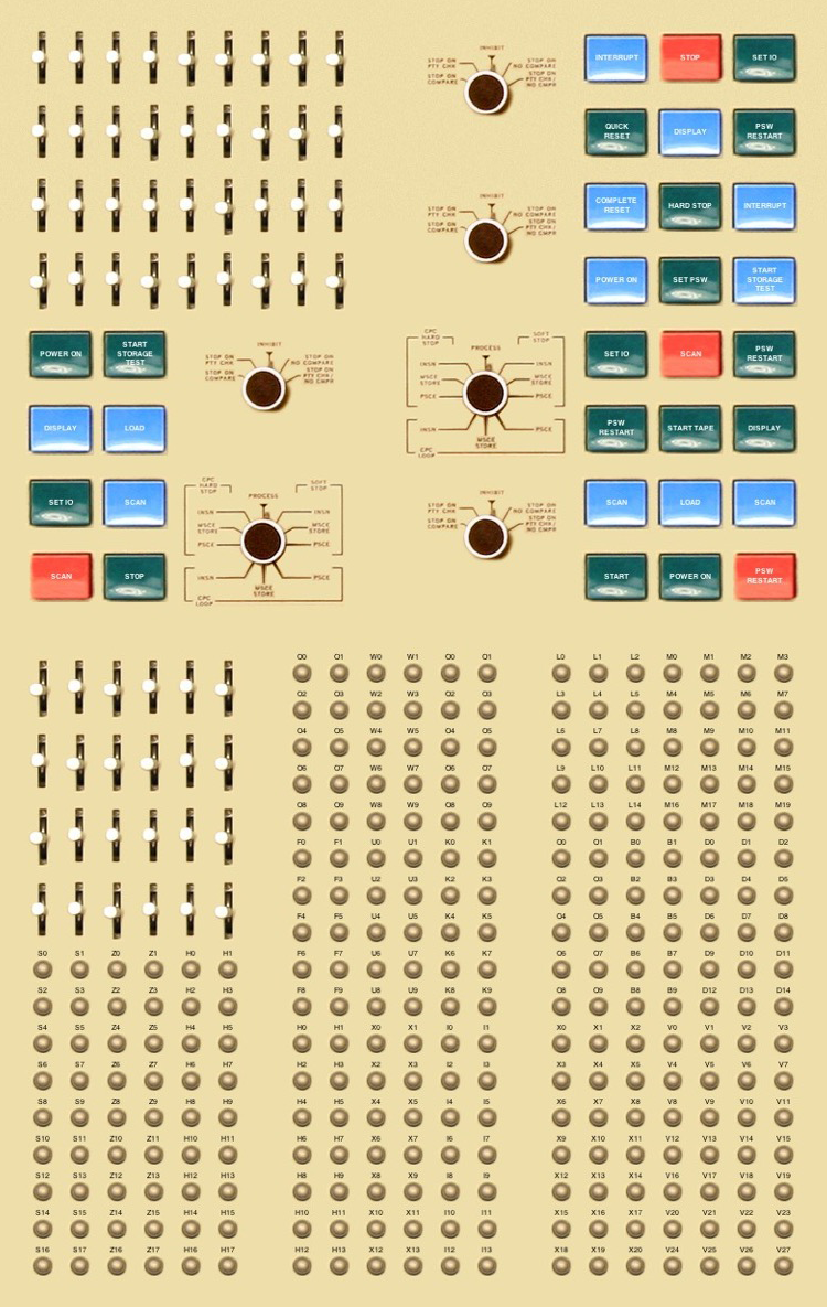 Computer generated grid of buttons, lights, levers, and knobs from an early computing device from the 1960s
