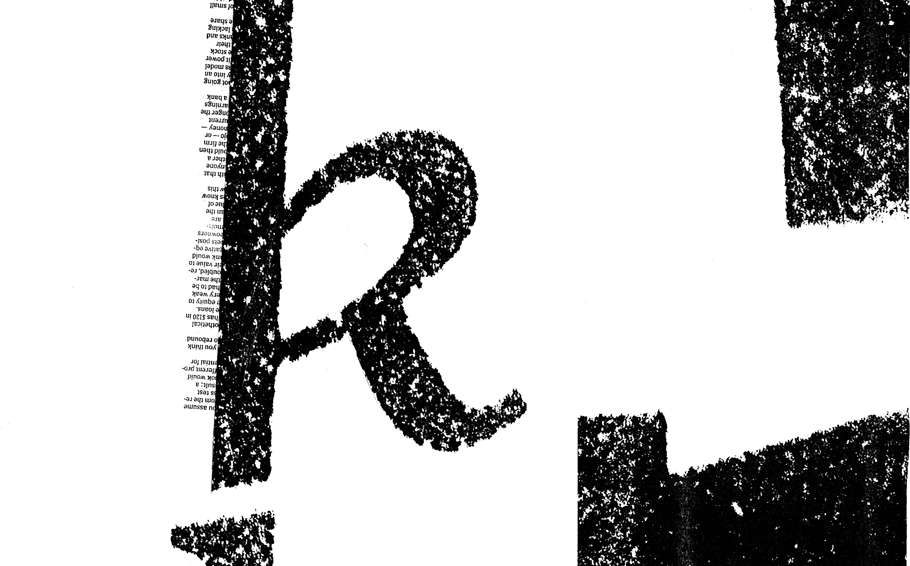 Photocopier collage of the letter k and short paragraphs from the New York Times