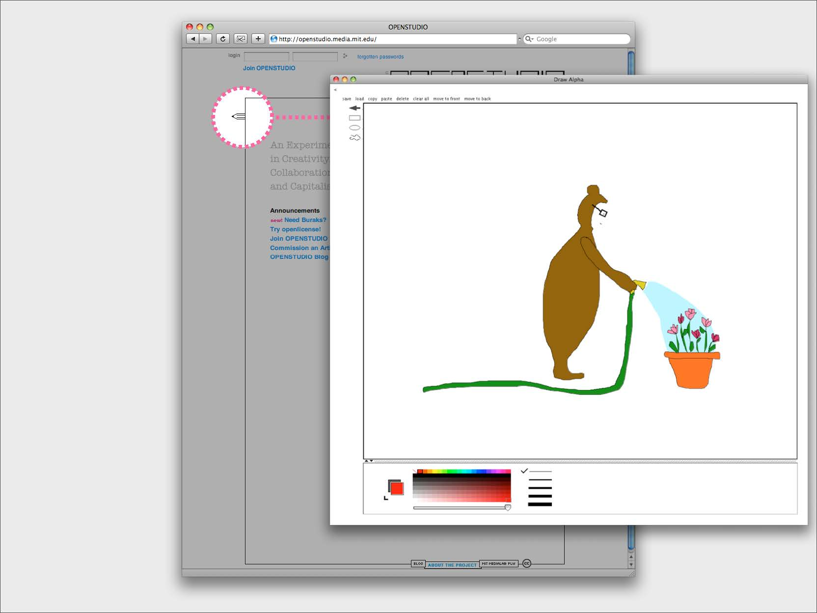 The drawing tool in Openstudio, a simple vector paint program with minimal features. Sample drawing: man in a bear suit watering flowers