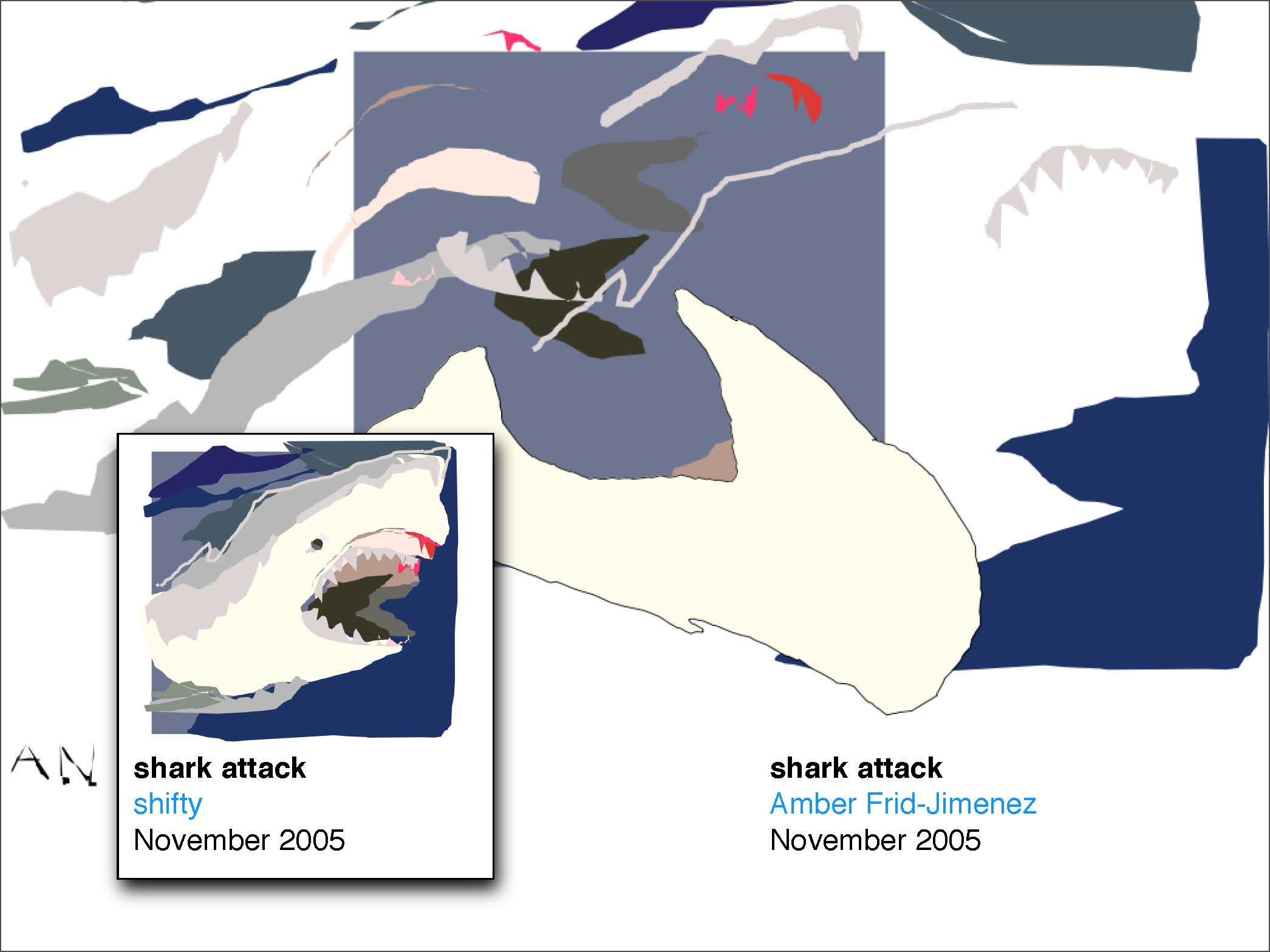 Dismantled shark drawing destroyed by one user, with the original reappropriated by another user