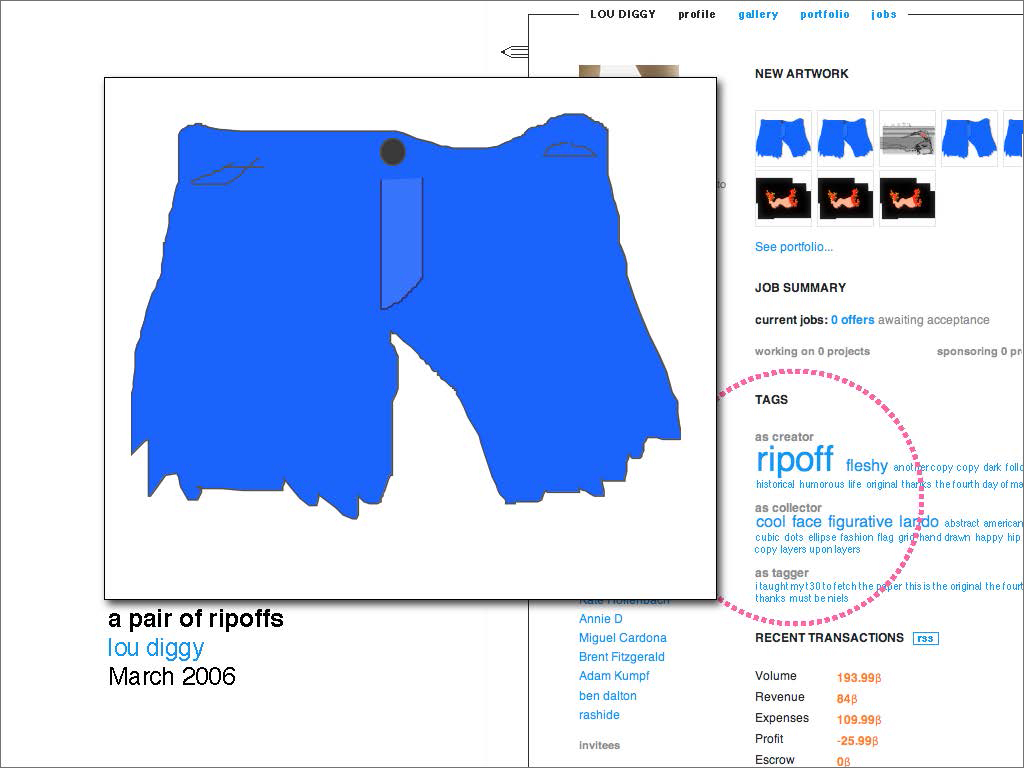 Profile page of a creator tagged with 'ripoff' and a retaliating drawing they made of some jean short cutoffs