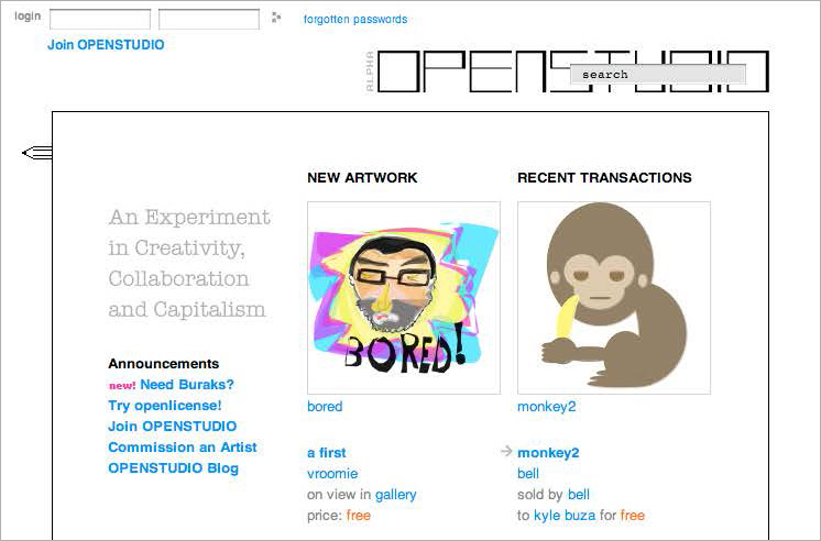 The Openstudio homepage, with a feed of announcements, new drawings, and recent financial transactions