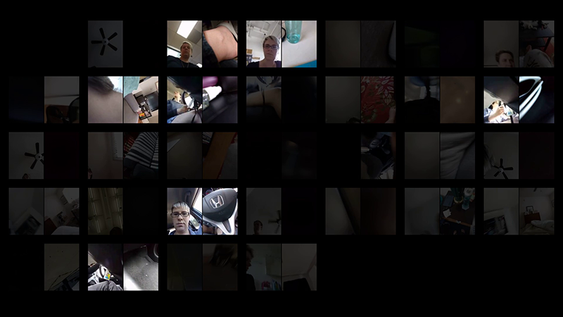 A calendar grid of smartphone video taken simultaneously from the front and back camera of a user's phone for thirty one days in phonelovesyoutoo: database