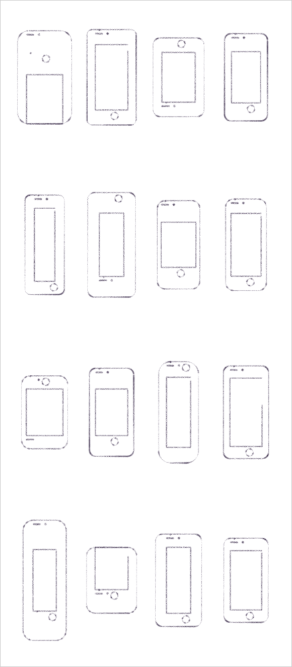 Grid of pencil drawings of smartphones generated by a computer, with different, and sometimes strange, dimensions and button arrangements