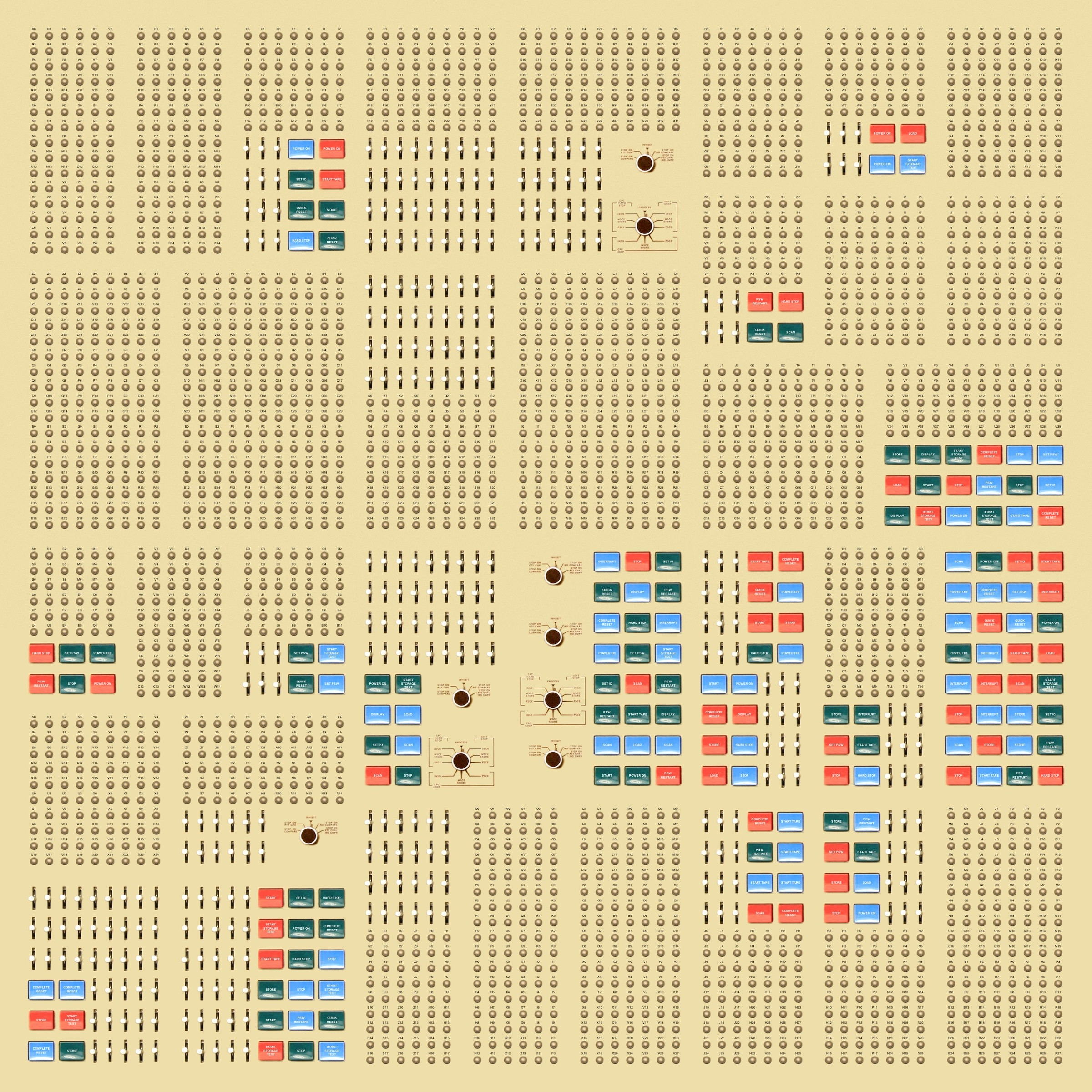 Buttons, levers, and knobs from computers of the 1960s arranged in a randomly generated grid.